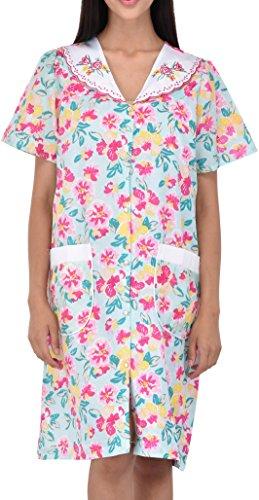 Women's Snap-Up Sleeveless Cotton House Dress by EZI