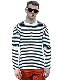 Allegra K Men Crew Neck Striped Long Sleeves Cotton/ Spandex Causal T-shirt