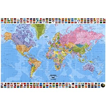 Amazon huge laminated encapsulated educational learning huge laminated encapsulated educational learning teaching maps world map flags political english poster measures 36 gumiabroncs Gallery