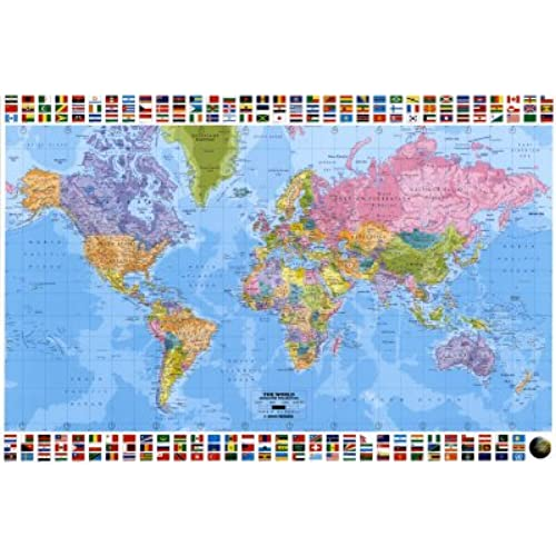 World map flag amazon huge laminated encapsulated educational learning teaching maps world map flags political english poster measures 36 x 24 inches 915 x 61cm gumiabroncs Images