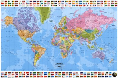 Amazon huge laminated encapsulated educational learning huge laminated encapsulated educational learning teaching maps world map flags political english poster measures 36 gumiabroncs Images