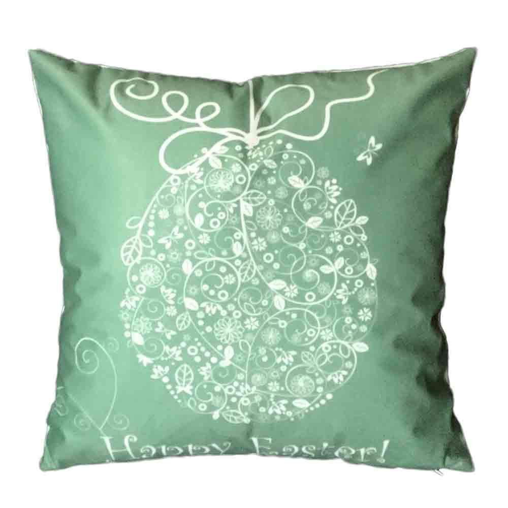 Pgojuni Easter Sofa Bed Home Decoration Festival Pillow Cover Easter Eggs Pillow Case Cushion Cover (C)