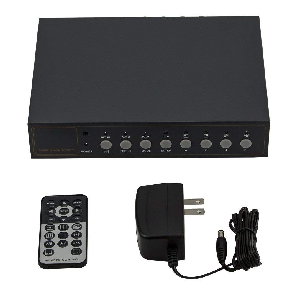 InstallerCCTV Video Quad Color 4CH Multiplexer 2 BNC Output with Remote Control and FREE 1Amp power adapter by InstallerCCTV