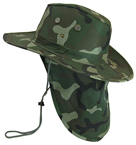 Boonie Bush Safari Outdoor Fishing Hiking Hunting Boating Snap Brim Hat Sun Cap with Neck Flap (Woodland Camo, (Round Flap)
