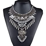 NABROJ Owl Style Women Statement Necklace, Bib Necklace for Women Fashion Necklace Retro Style Indian Jewelry Silver 1PC with Gift Box-HL15 Silver