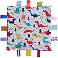 Toyvian Baby Colorful Security Tag Blanket Soft Appease Towel for Newborn Toddlers(Dinosaur Pattern)