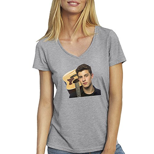 Shawn Mendes With Guitar T-Shirt camiseta Cuello V para la Mujer Gris