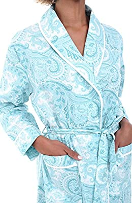 Alexander Del Rossa Womens Paisley Cotton Summer Robe, Lightweight House Coat for Her