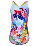 BELLOO Girl's One Piece Cat Printed Swimsuit Thin Straps Bathing Suit, 7-8