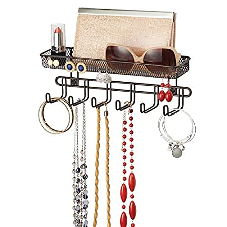 bronce bolsos y accesorios Pr/ácticos ganchos para colgar pa/ñuelos mDesign Juego de 2 percheros de pared Corbatero para cinturones y corbatas