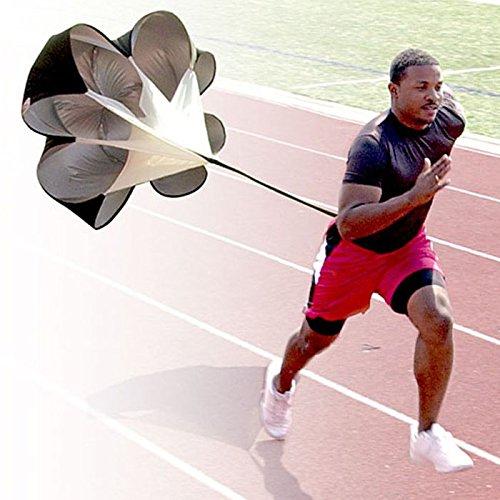 Kuerqi Running Speed Training, 56 inch Speed Drills Resistance Parachute Running Sprint Chute Soccer Football Sport Speed Training (Black)