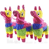 Juvale Pack of 3 Miniature Donkey Pinatas - Rainbow Donkey Mini-Sized Mexican Pinatas for Birthday Party, Cinco De Mayo, Fiestas, Celebrations - 4 x 7.5 x 2 inches