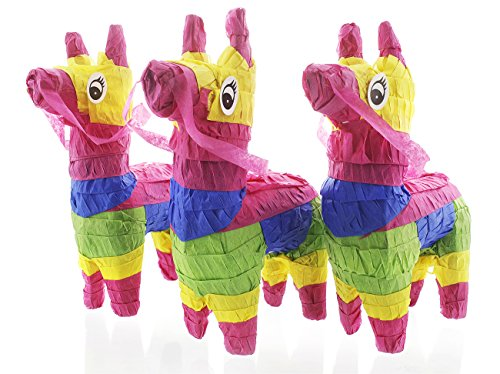 Pack of 3 Miniature Donkey Pinatas - Rainbow Donkey Mini-Sized Mexican Pinatas for Birthday Party, Cinco De Mayo, Fiestas, Celebrations - 4 x 7.5 x 2 -
