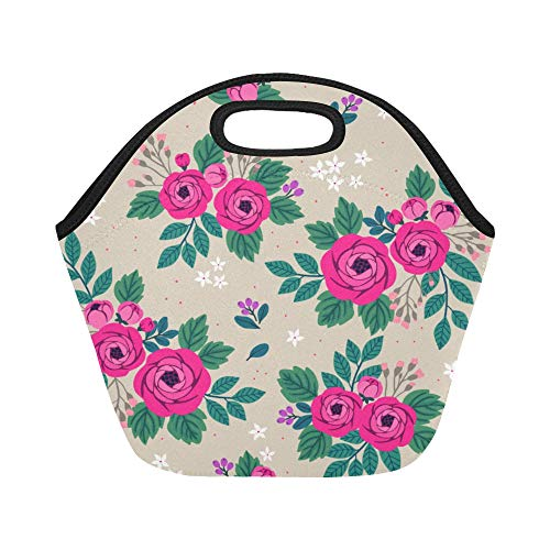 Insulated Neoprene Lunch Bag Peony Rose Red Vintage Hand Drawn Large Size Reusable Thermal Thick Lunch Tote Bags For Lunch Boxes For Outdoors,work, Office, School
