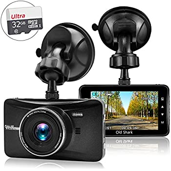 "OldShark 3"" 1080P Dash Cam with 32GB Card, 170 Wide Angle Car On Dash Video, G-Sensor, Night Vision, WDR, Parking Guard, Loop Recording Dashboard Camera Recorder"