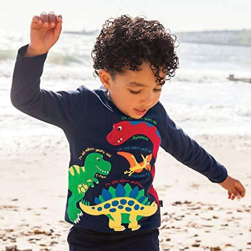 Toddler Baby Girl Boy Sweatshirt, Long Sleeved Cartoon Dinosaur Print Top, Basic O-Neck for Kids