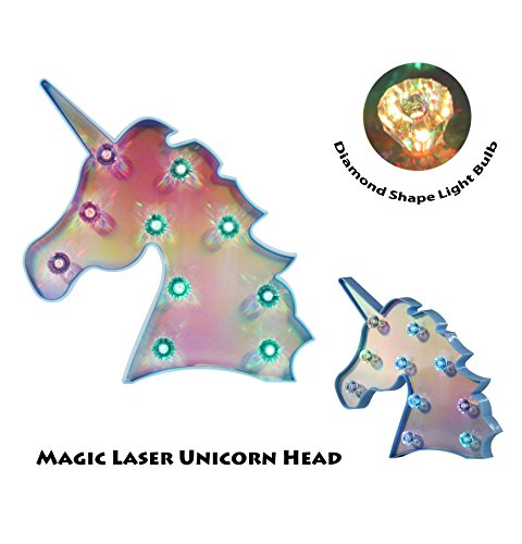- DELICORE Blue Laser Unicorn Head marquee sign Colorful magical glow night light with diamond light bulb, mood table lighting, holiday party supply (UH-Laser-Blue-Colorful)