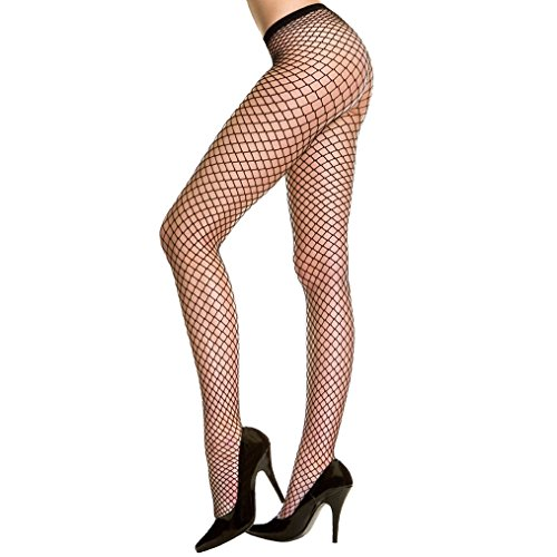 Fishnet Tights Women's High Waist Fishnet Stockings Pantyhose Black Fit (Big Hole Fishnet Pantyhose)