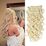 """22"""" Clip in Hair Extensions Full Head Curly Wavy Hairpieces for Women 7pcs 140gram (Bleach Blonde - 613#)"""