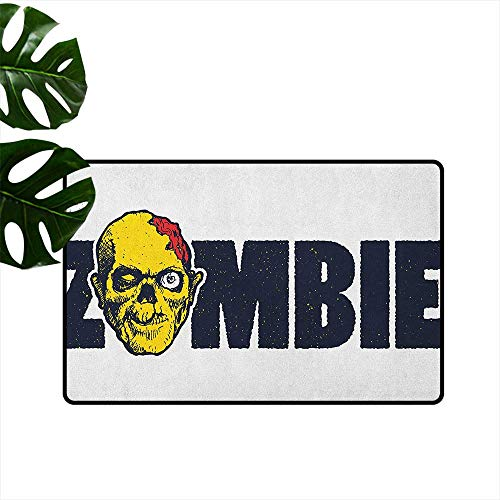 RenteriaDecor Zombie,American Floor mats Dead Human Face Caricature with Zombie Typography Style Monster Illustration 20