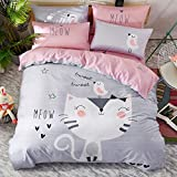 ZZY Bedding Cotton Sheets Three Or Four Sets 1.2/1.5/1.8m Bed Fashion Cartoon Cute Pattern Boy Girl (Color : D, Size : 1.2m)