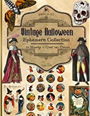 Vintage Halloween Ephemera Collection: 19 Sheets and Over 140 Pieces for Cut Out and Collage Projects, DIY Cards, Scrapbooking, Decorations, Decoupage, Papercraft Embellishments, Junk Journal Kit, Mixed Media - Bonus with 2 Decorative Journal Pages