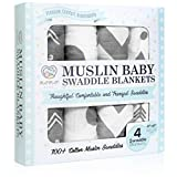Momo Bebe Muslin Baby Swaddle Blankets - 4 pack Large 47x47 inch Cotton Swaddles - White Grey Chevron Polka Dot Arrow - Soft Breathable Comfortable Durable - Nursery Shower Gift Set Unisex Neutral