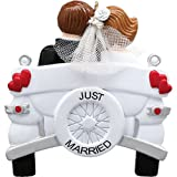 Personalized Vintage Wedding Car Christmas Ornament for Tree 2018 - Just Married Brunette Bride Groom Couple Vehicle with Heart Real Tulle Ceremony - Newlyweds Romantic Love Gift - Free Customization