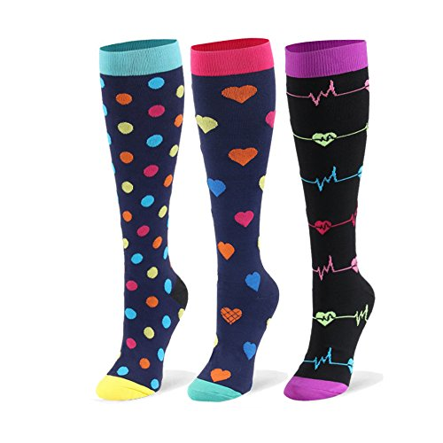 Compression Socks (20-30mmHg) for Women & Men - 1 to 8 Pairs Graduated Compression Stockings Best for Running, Nursing (Small/Medium, 3 Pairs, Urban Dots & Purple Ekg & Colorful Hearts)