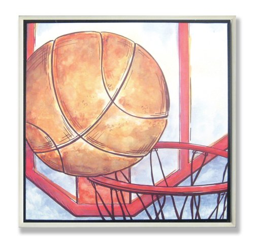 The Kids Room by Stupell Basketball and Hoop Square Wall (Hoop Decoration)