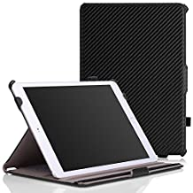 iPad Air 2 Case - MoKo Slim-Fit Multi-angle Folio Cover Case for Apple iPad Air 2 (iPad 6) 9.7 Inch 2014 Tablet, Carbon Fiber BLACK (with Auto Sleep / wake, Not fit iPad Air 2013)
