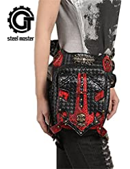 Punk Women Men Skull Waist Bags Vintage Crossbody Motorcycle Leather Leg Bag