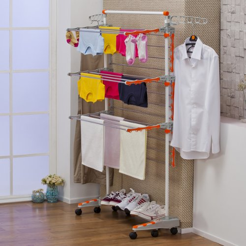 Portable Clothes Drying Rack With Wheels