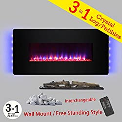 "Golden Vantage 48"" Black Tempered Glass Finish Wall Mount Freestanding Convertible 22 Setting Electric Fireplace Stove Heater by Golden Vantage"