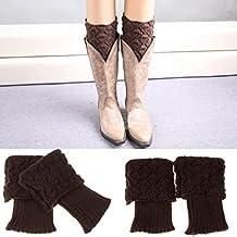 Lowpricenice(TM)Women Winter Leg Warmer Button Crochet Knit Boot Socks Toppers Cuffs