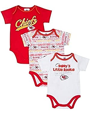 Baby Boys Kansas City Chiefs Infant Bodysuits - 3 Pack