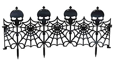 Forum Novelties 24-Piece Gothic Skull Fence Lawn Decoration, Black
