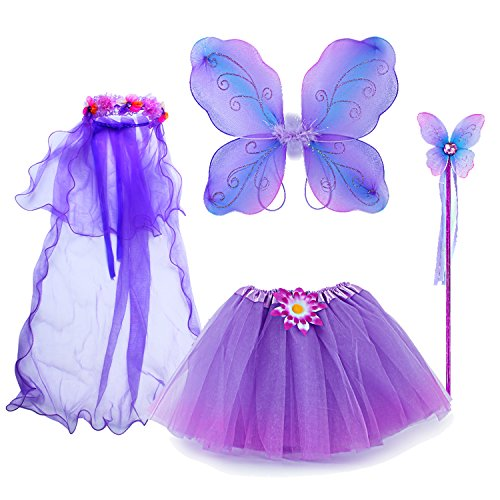 fedio 4Pcs Girls Princess Fairy Costume Set with Wings, Tutu, Wand and Floral Wreath Veil for Children Ages 3-6 (Multicolor-Purple) -