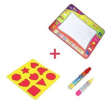 BelleStyle Doodle Agua Juguete Educativo Mat 4 Colores Agua Dibujo Pintura Mat Escritura Tablero con 2 Plumas M/ágicas /& 9 Moldes para Ni/ños Mayores de 2 A/ños M, 80cm x 60cm