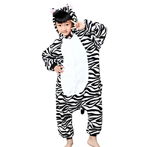 WSLCN Childrens Boys Girls Animal Onesie Unisex Cosplay Flannels Hooded Kids Sleepsuit Party Halloween Sleepwear Nightwear Zebra Child Height 35-40 inch (Happy Halloween Pink Zebra)