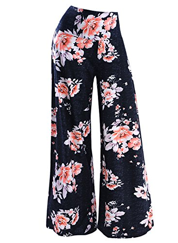 Arolina Women's Stretchy Wide Leg Palazzo Lounge Pants (XX-Large, Floral 5)