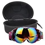 Vipeco New Unisex Double Lens UV400 Anti-Fog Ski Snowboard Skiing Glasses with Case