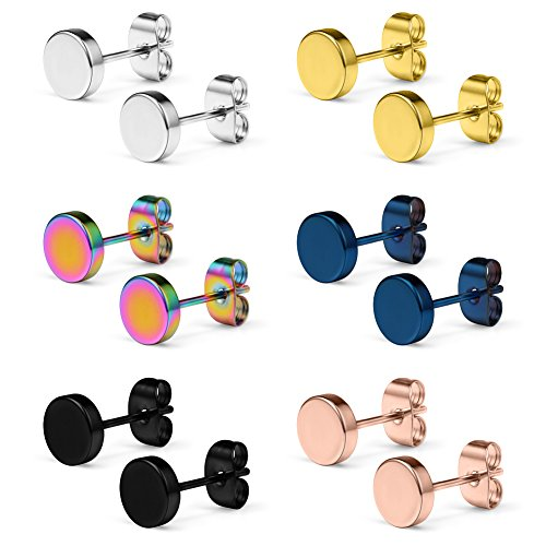 - SCERRING 6 Pairs 20G Stainless Steel Flat Top Stud Earrings Set for Men Women Barbell Stud Earrings Same Sizes 5mm