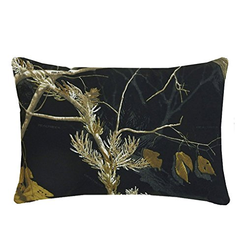 Realtree All Purpose Camo Reversible Black and White Oblong Throw Pillow 18