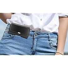 Horizontal Belt Clip Loops Cell Phone Pouch Case Fits iPhone 8, 7, 6, Galaxy J3 Emerge, Express Prime 2, Amp Prime 2, J3, J3 Prime, LG K3 2017, ZTE Tempo, Huawei Nova, Nova 2, Essential Phone ( PH-1)