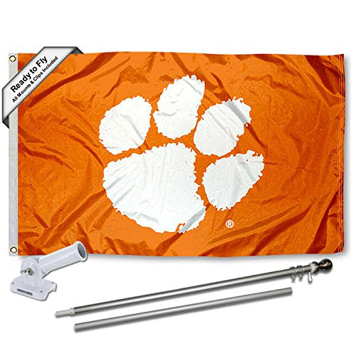 Clemson Tigers Orange Flag with Pole and Bracket Kit by College Flags and Banners Co.