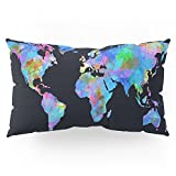 Society6 World Map Watercolor Black Pillow Sham King (20'' x 36'') Set of 2