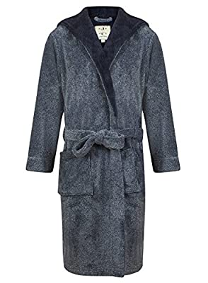 Men's Hooded Fleece Robe by John Christian - Navy Marl
