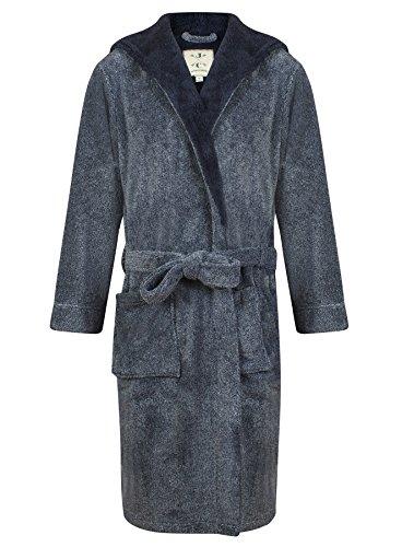 John Christian Men's Hooded Fleece Robe Navy Marl (L)