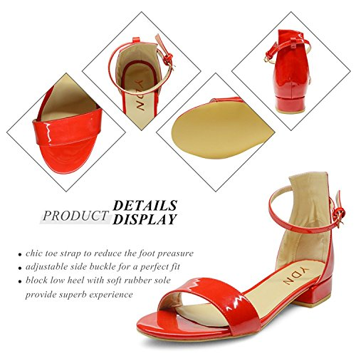 choice online how much sale online YDN Womens Open Toe Low Heel Flat Sandals Ankle Strap Solid Block Shoes with Buckle Red sale free shipping buy cheap perfect iPZu1a2w